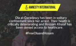 Amnesty International Issues Renewed Urgent Action for Ola and Hosam