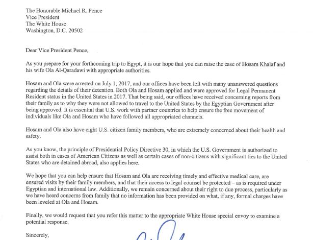 Senators and Congressman Address Ola and Hosam to Vice President Mike Pence